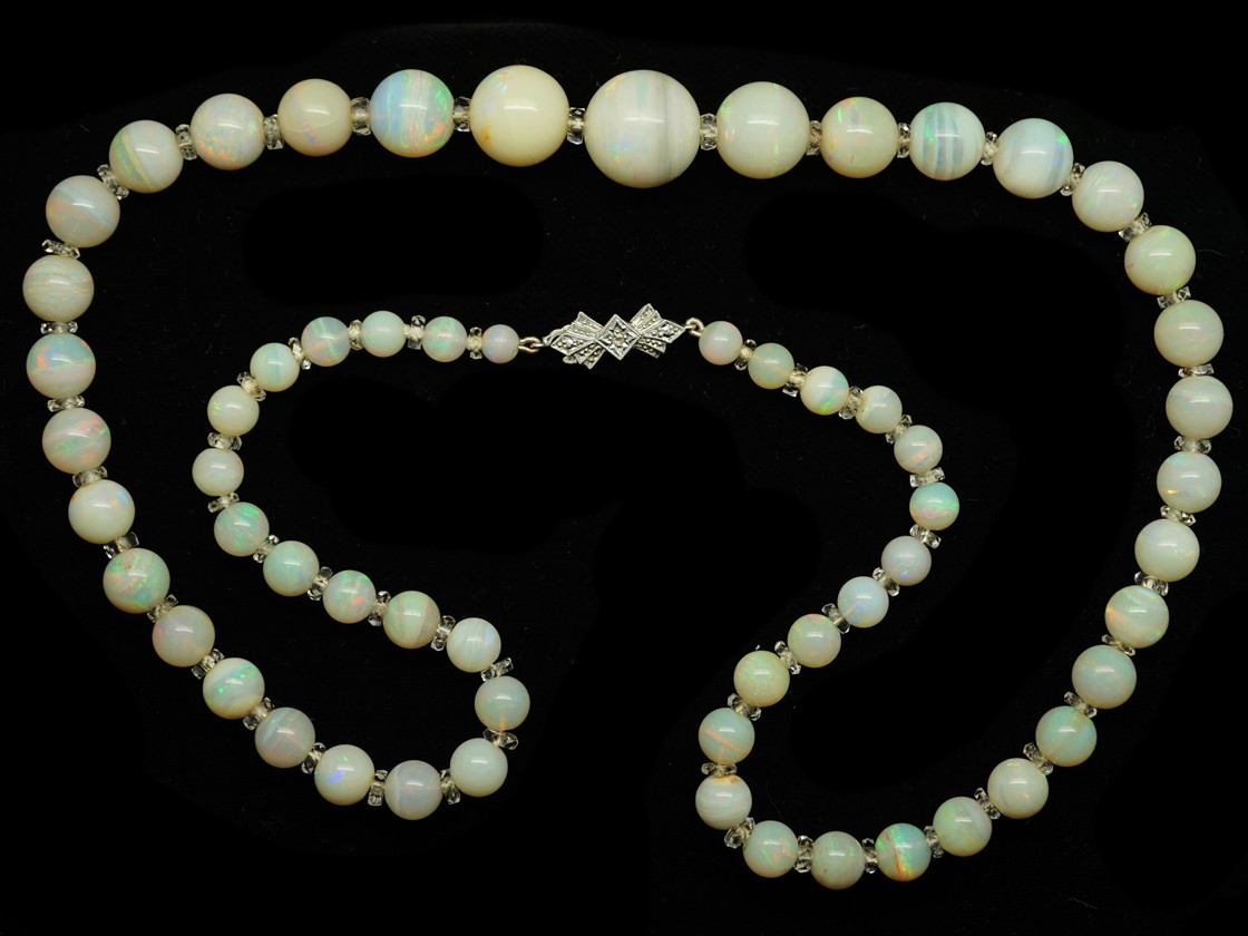 Opal Bead Rock Crystal Necklace