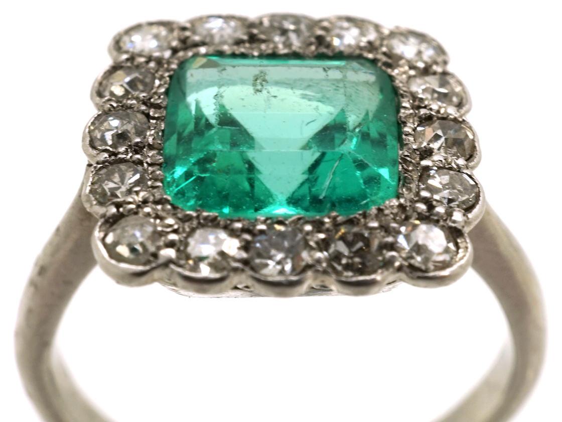 Art Deco Platinum Emerald Amp Diamond Square Ring The