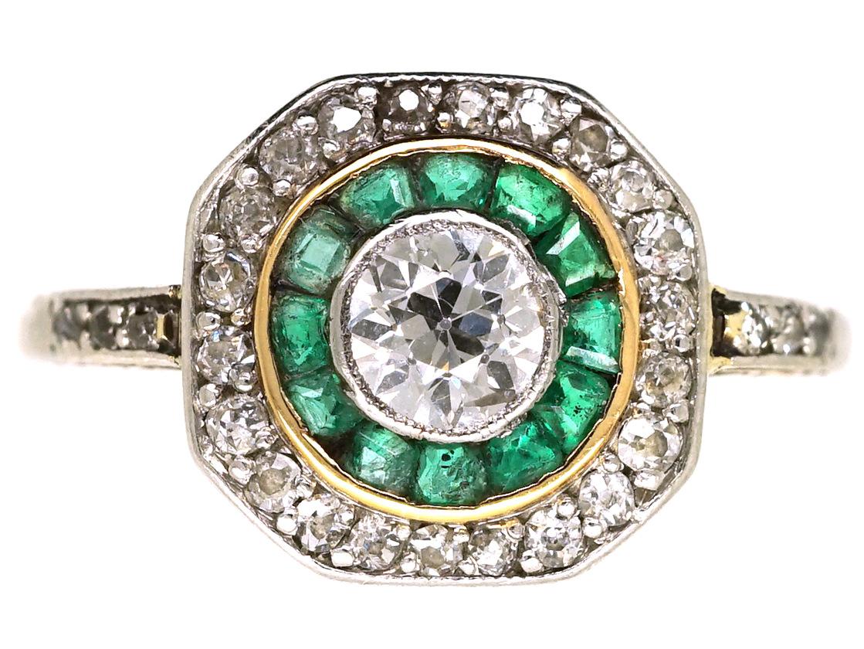 Art Deco 18ct Gold Platinum Octagonal Shaped Emerald