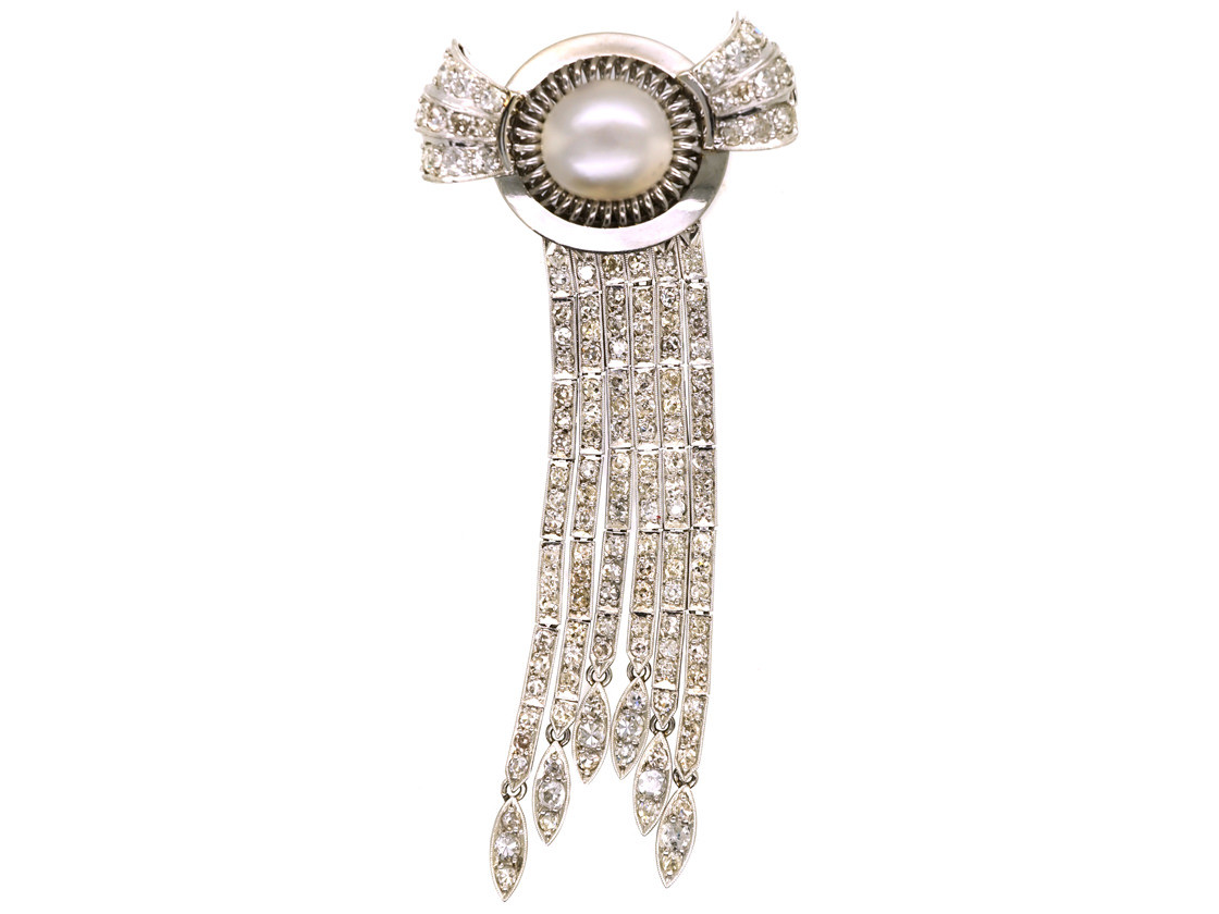 Art Deco 18ct White Gold Diamond Amp Pearl Cascade Brooch
