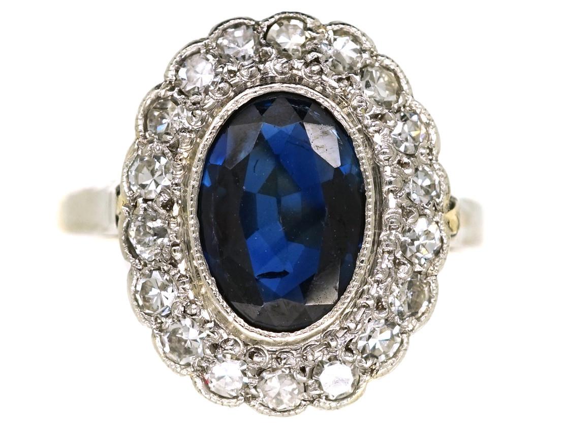 art deco 18ct gold platinum sapphire diamond oval. Black Bedroom Furniture Sets. Home Design Ideas