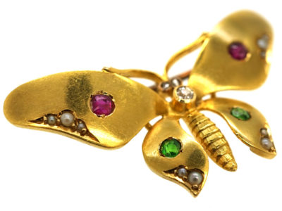 Edwardian 18ct Gold Butterfly Brooch Set With Green Garnets, Rubies, Pearls & a Diamond