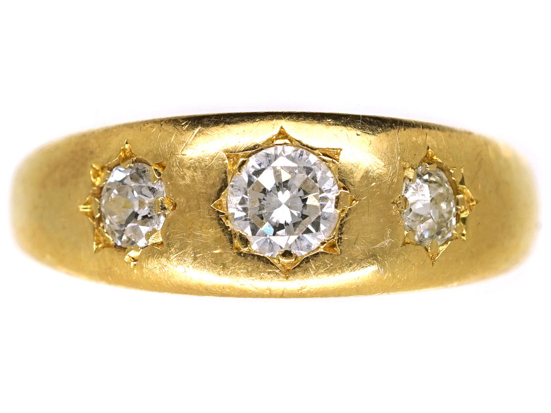 Victorian 18ct Gold Amp Three Stone Diamond Gypsy Ring The