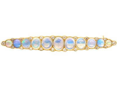 Edwardian 15ct Gold, Opal & Diamond Line Brooch