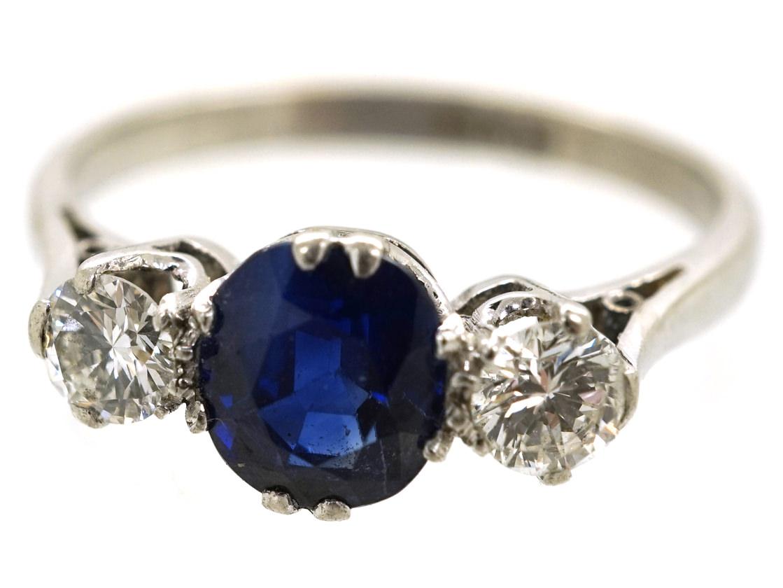 Platinum Diamond Amp Sapphire Three Stone Ring The Antique Jewellery Company