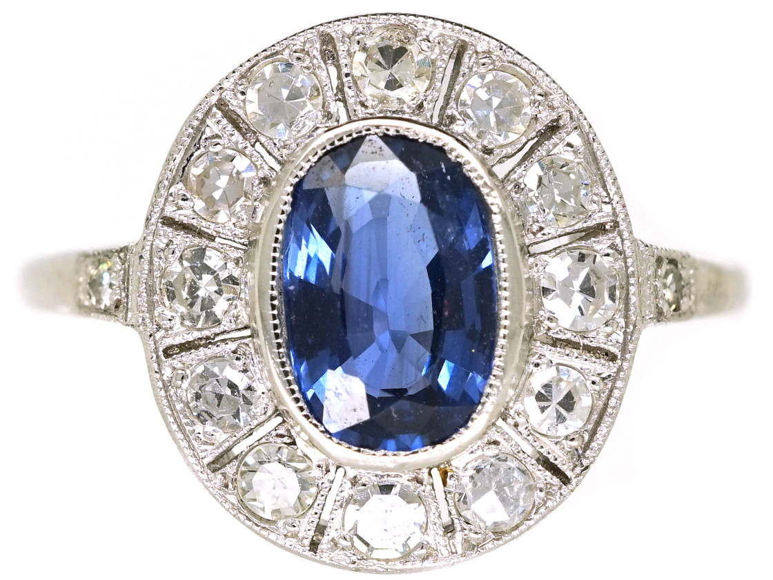 Edwardian Platinum Sapphire Amp Diamond Oval Cluster Ring