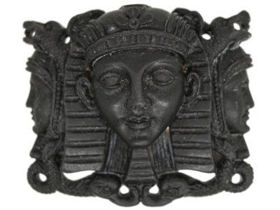 Grand Tour Carved Black Lava Egyptian Revival Brooch