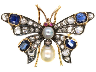 Edwardian Sapphire, Natural Pearl, Ruby & Diamond Butterfly Brooch
