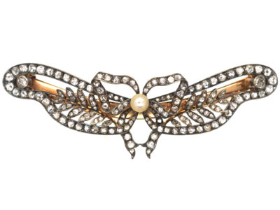 Edwardian Rose Diamond & Natural Pearl Hair slide in Original Case