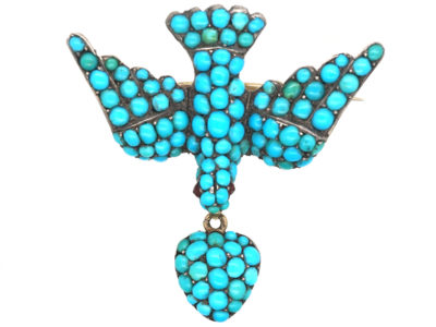 Georgian 15ct Gold & Turquoise Dove of Peace Brooch
