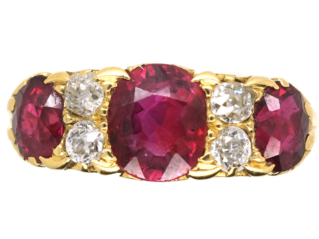 Victorian 18ct Gold Ruby Amp Diamond Three Stone Carved