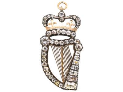 Georgian Silver, Gold & Paste Harp Pendant / Brooch