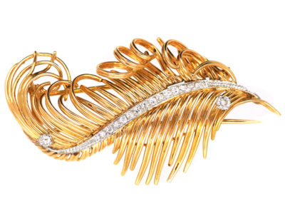 18ct Gold & Diamond  Feather Brooch