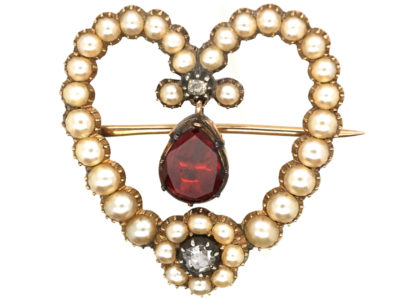 Georgian Heart Shaped Brooch Set with a Garnet, Natural Split Pearls & Diamonds