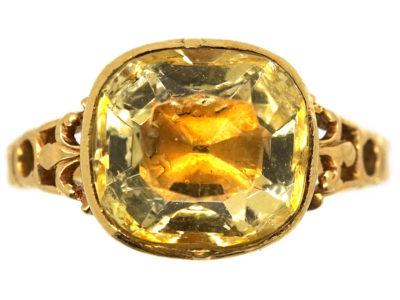 Georgian 18ct Gold & Foiled Citrine Ring