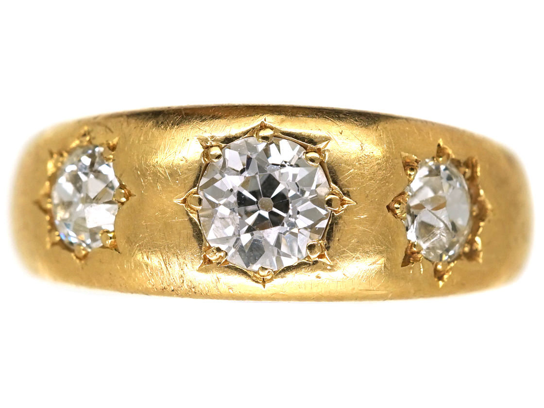 Victorian 18ct Gold Three Stone Diamond Gypsy Ring The