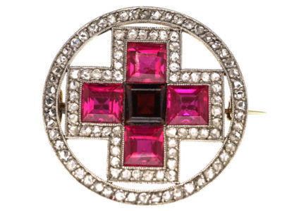 Art Deco 18ct Gold & Platinum, Synthetic Ruby & Rose Diamond Circle Brooch With Cross Motif