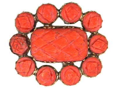 Georgian 9ct Gold & Coral Lace Brooch