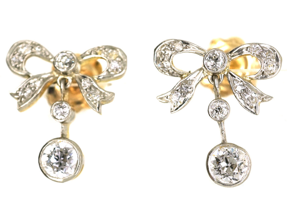Edwardian 15ct Gold Platinum Diamond Bow Drop Earrings