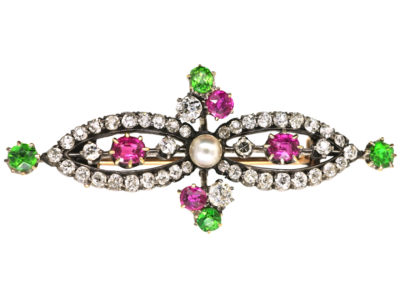 Edwardian 15ct Gold, Green Garnet, Ruby, Pearl & Diamond Suffragette Brooch