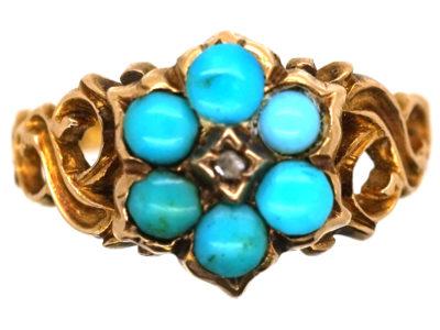 Georgian 15ct Gold Turquoise & Rose Diamond