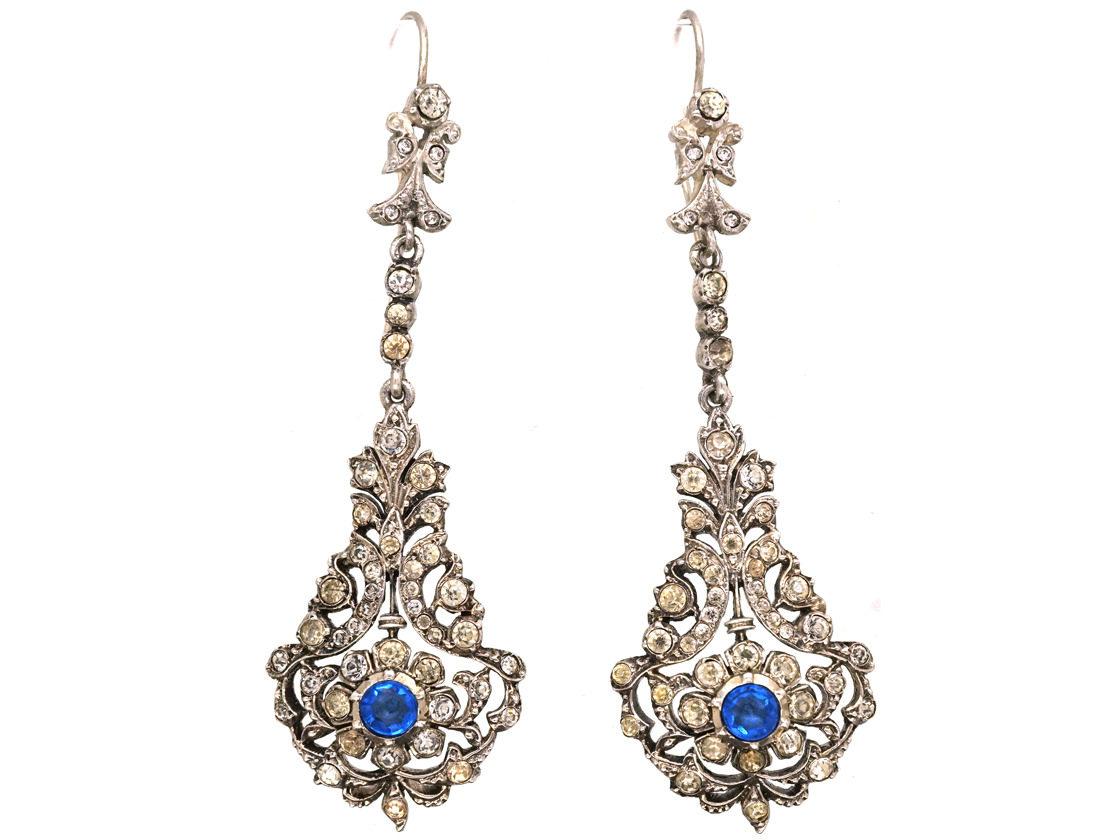 Edwardian Silver Blue White Paste Long Drop Earrings