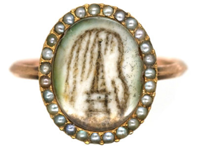 Georgian 9ct Gold & Natural Split Pearl Hair Miniature Mourning Ring with a Monument & Willow Tree