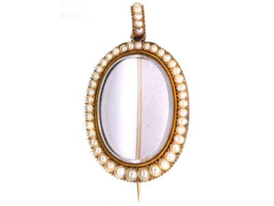 Georgian 9ct Gold & Natural Pearl Brooch / Pendant