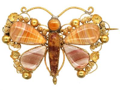 Regency 18ct Gold & Agate Butterfly Brooch