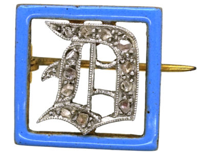 Art Deco 15ct Gold, Platinum, Rose Diamond & Blue Enamel