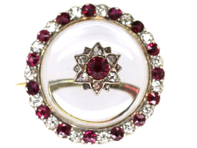 Edwardian 15ct Gold & Rock Crystal, Ruby & Diamond Circular Brooch