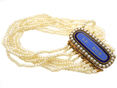 Georgian Natural Seed Pearl with Gold & Enamel Clasp