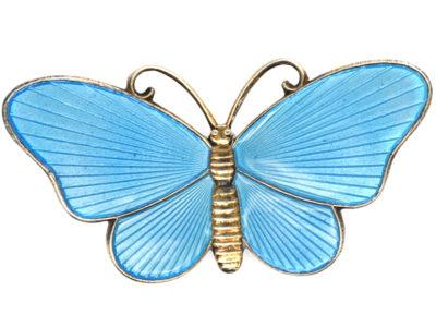 Norwegian Silver Gilt & Blue Enamel Butterfly Brooch by Ivar T Holth