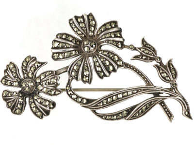 French Silver & Marcasite Flowers Brooch