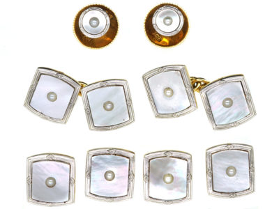 Art Deco 18ct Gold, Platinum, Mother of Pearl & Natural Split Pearl  Dress Set