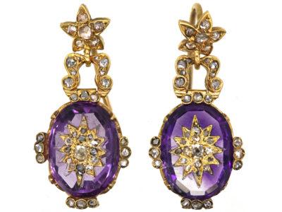 Victorian 18ct Gold, Amethyst & Rose Diamond Drop Earrings