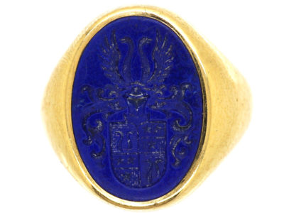 18ct Gold & Lapis Lazuli Signet Ring With Crest Intaglio
