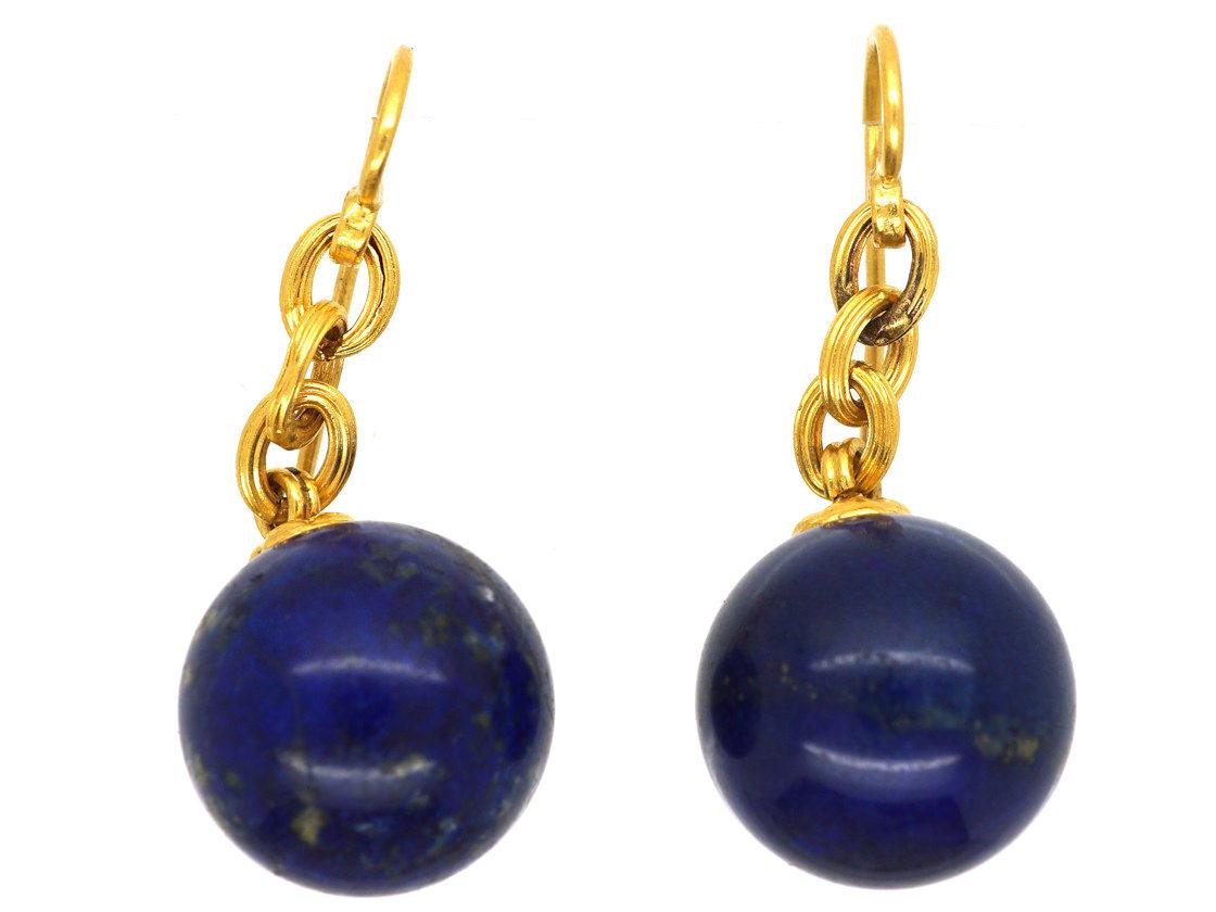French 18ct Gold Lapis Lazuli Earrings