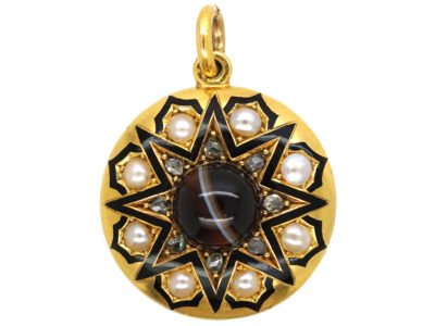 Victorian 18ct Gold & Black Enamel Pendant set with Onyx, Rose Diamonds & Natural Split Pearls