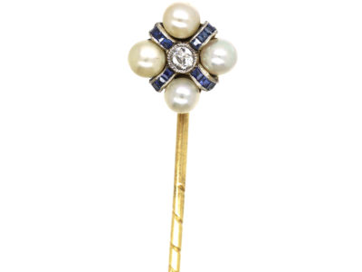 Art Deco Sapphire, Diamond & Natural Pearl Tie Pin