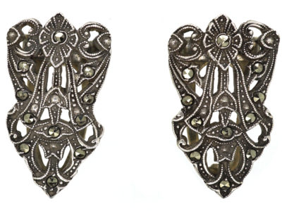 Art Deco Pair of Silver & Marcasite Double Clips