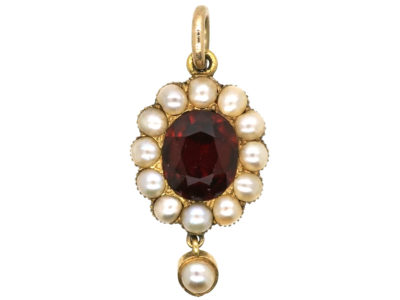 Victorian 15ct Gold Garnet & Natural Split Pearl Pendant