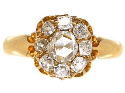 Victorian 18ct Gold & Rose Diamond Cluster Ring