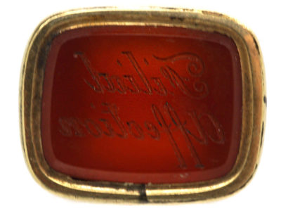 Georgian Gold Cased Seal with Carnelian Intaglio Engraved with Filial Affection