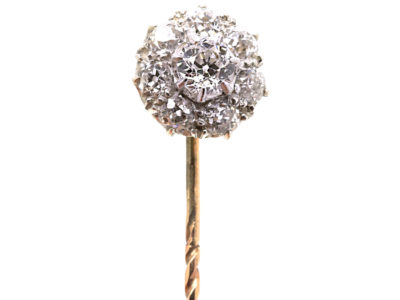 Edwardian Diamond Cluster Tie Pin