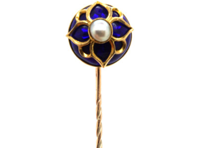Victorian 18ct Gold, Royal Blue Enamel & Natural Split Pearl Tie Pin