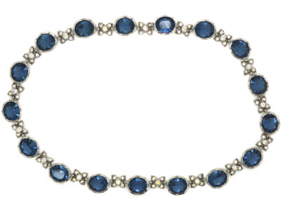Edwardian Silver & Blue & White Paste Necklace