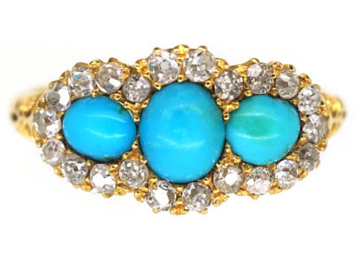 Victorian 18ct Gold Three Stone Turquoise & Diamond Ring