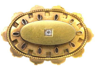 Victorian 15ct Gold Oval Brooch Brooch set with a Diamond