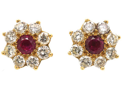 18ct Gold Ruby & Diamond Cluster Earrings